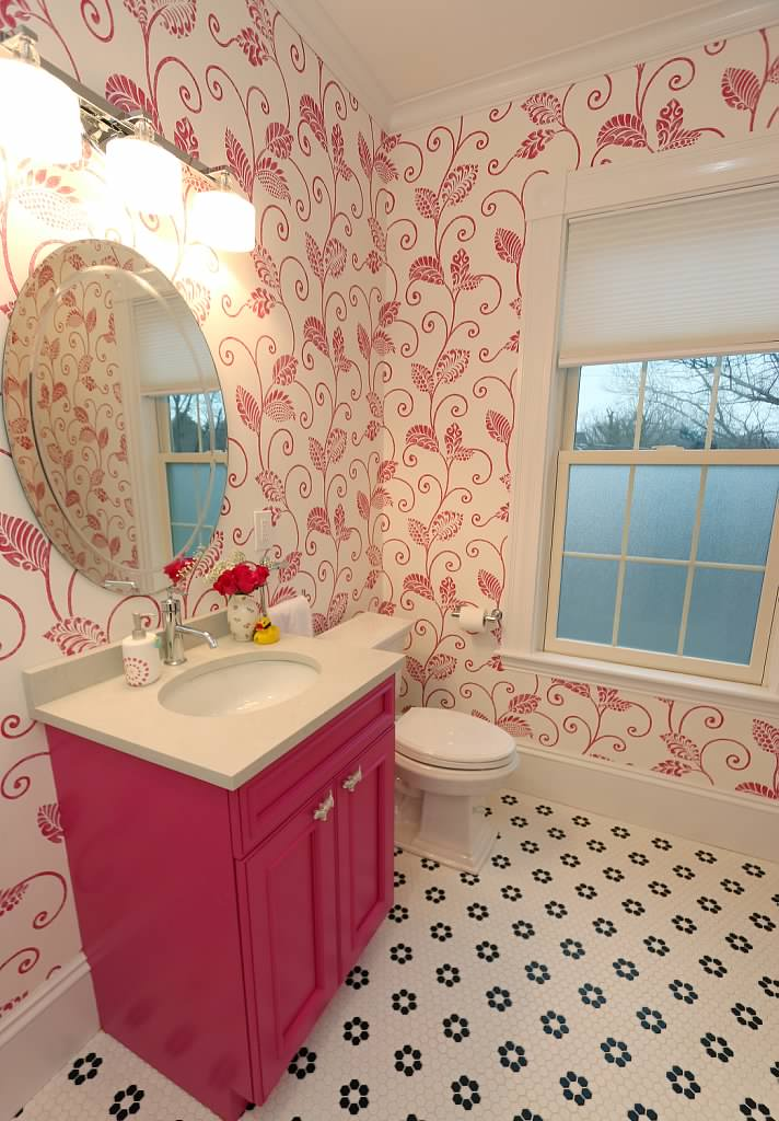 Daughters bathroom pink cabinet kitchen people for Carole kitchen and bath design ma